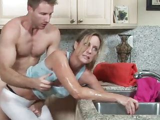 MILF gets her render unnecessary stuck at hand the drain, her son helps