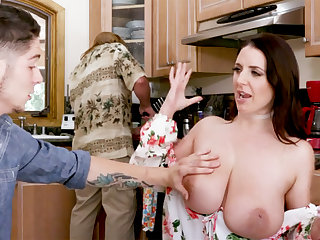 Dim-witted stepson never mot such huge tits before