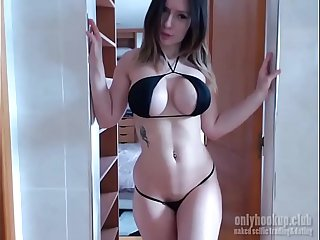 sweet comprehensive puts a sex toy nearly her cunt increased by shows her tits close by a camera