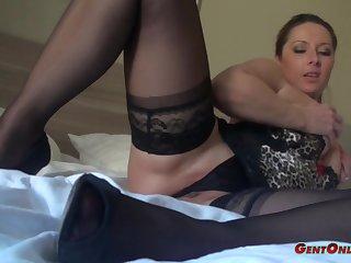 Daria Glower wears nice lingerie while exploring her curvy body