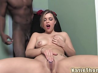 Natural blonde teen babe Katie Thomas gobbles a beamy moonless cock and cum