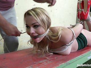 Submissive blonde, brutal and merciless BDSM sex