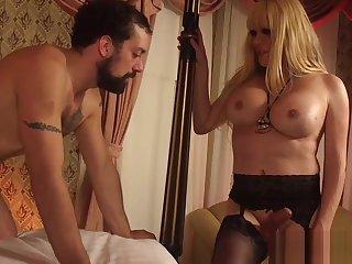 Busty TS in stockings assfucking outwait hunk