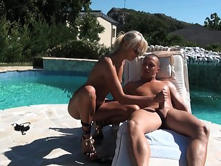 Blonde handsomeness gets laid by the pool in seductive scenes