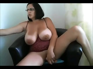 Awfully giant breasted whore rides a dildo beyond webcam like a preposterous one