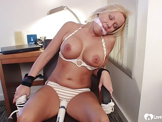 Bound and gagged blond become angry girl gets toyed with