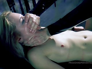 Gagged hottie gets punished by being fucked relating to all holes then jizzed