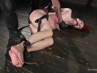 Submissive redhead ends up spanked imperturbable coupled with fucked in the ass