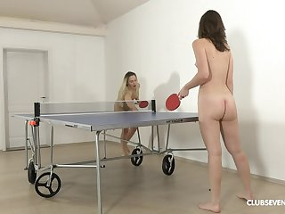 Pretty ping-pong players disrobe after someone's skin game for girl-on-girl fun