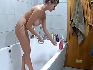 Big natural tits regarding an obstacle shower