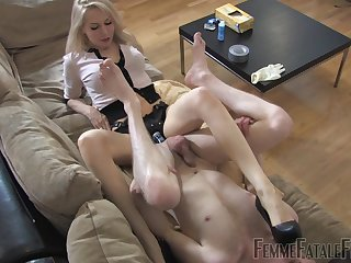 Medial blonde ass fucks slave boy with huge strap-on toy