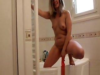 Lisa Playing At The Bathroom