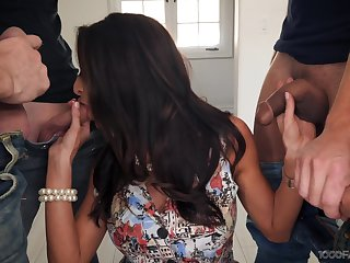 Sexy housewife Silvia Saige gives a blowjob to stepson and his fellows