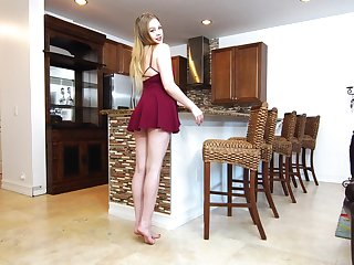 Beautiful babe Brie Viano is testing new sex toy right on along to kitchen table