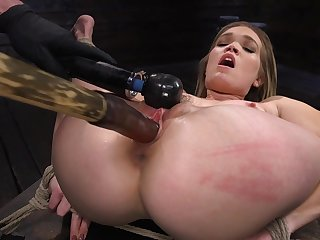Super flexible whore Katie Kush gets legs width apart and pussy teased