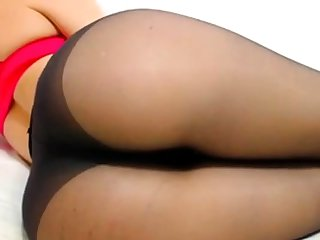 Conscientious ass in black pantyhose
